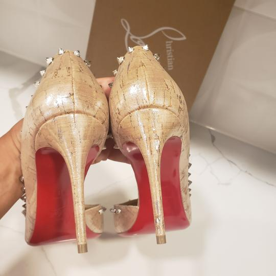Christian Louboutin Heels Cork Studded Spiked D'orsay Beige Silver Pumps Image 11
