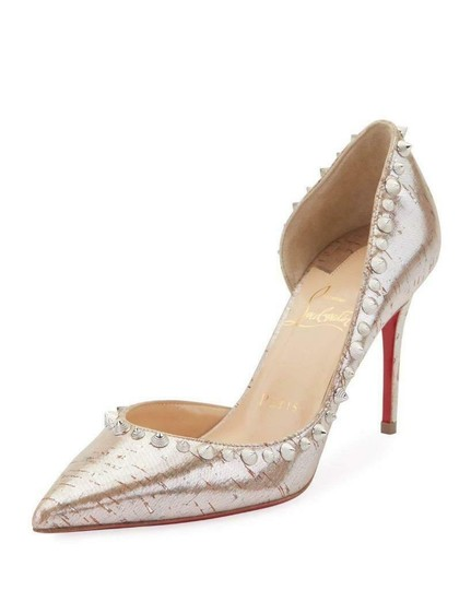 Christian Louboutin Heels Cork Studded Spiked D'orsay Beige Silver Pumps Image 2