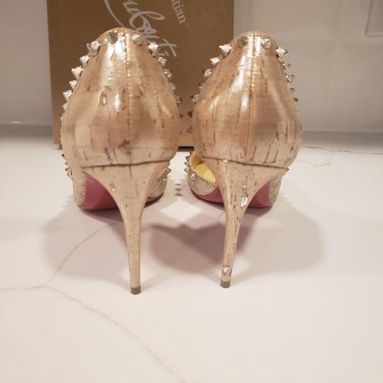 Christian Louboutin Heels Cork Studded Spiked D'orsay Beige Silver Pumps Image 3
