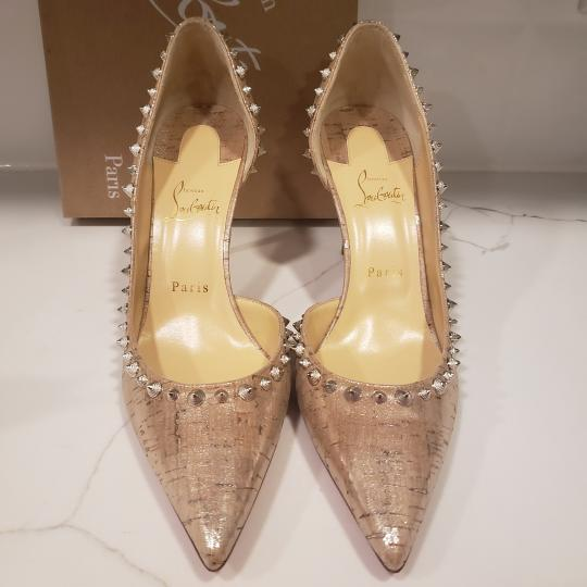 Christian Louboutin Heels Cork Studded Spiked D'orsay Beige Silver Pumps Image 4
