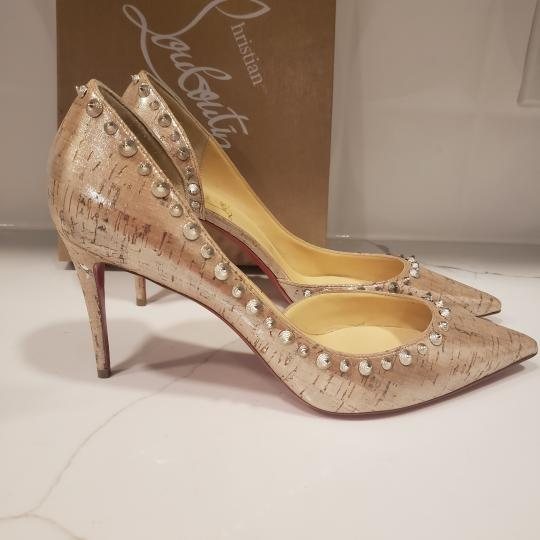 Christian Louboutin Heels Cork Studded Spiked D'orsay Beige Silver Pumps Image 5