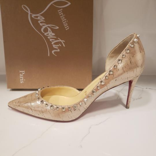 Christian Louboutin Heels Cork Studded Spiked D'orsay Beige Silver Pumps Image 6