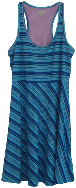Item - Multi-color Striped Scoop Neck Racerback Fit & Flare Active Style No. Thn059st Short Casual Dress Size 12 (L)