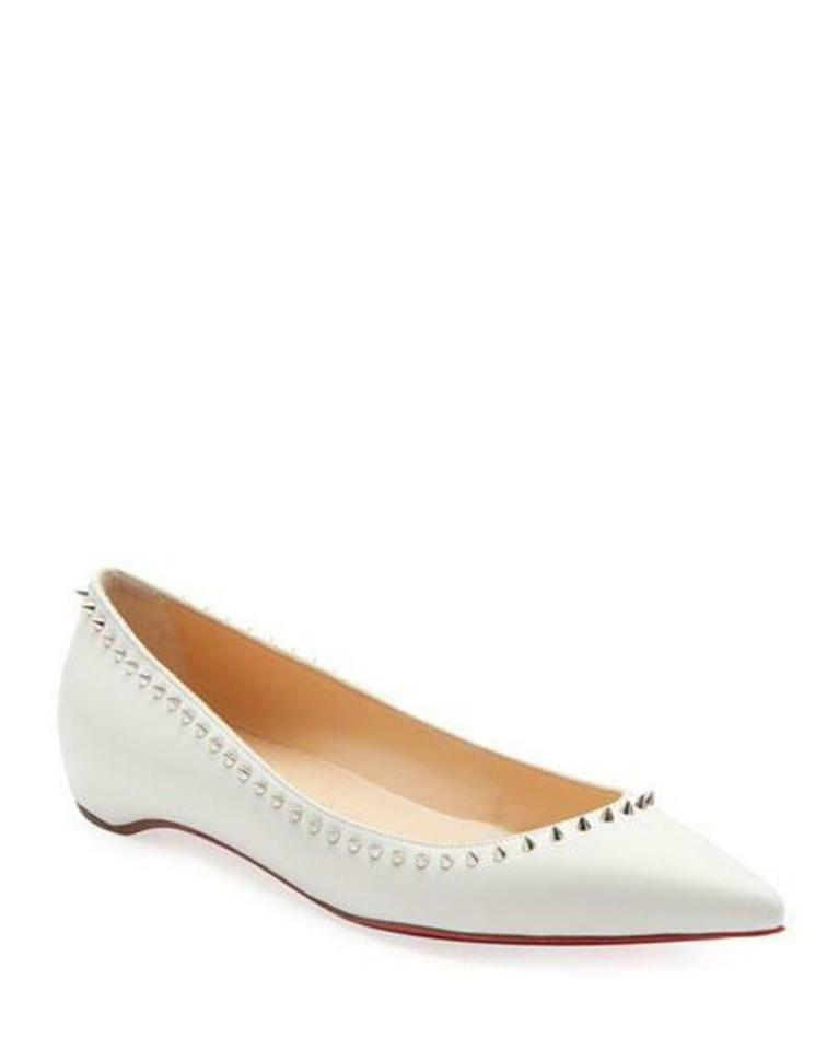 f225cc35 Christian Louboutin Snow (White) Anjalina Spiked Studded Leather Ballerina  Ballet Flats Size EU 41.5 (Approx. US 11.5) Regular (M, B) 24% off retail