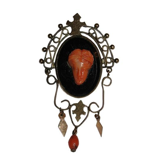 Preload https://img-static.tradesy.com/item/25897567/brass-14-kt-rolled-gold-victorian-carved-sardinian-red-coral-cameo-br-0-0-540-540.jpg