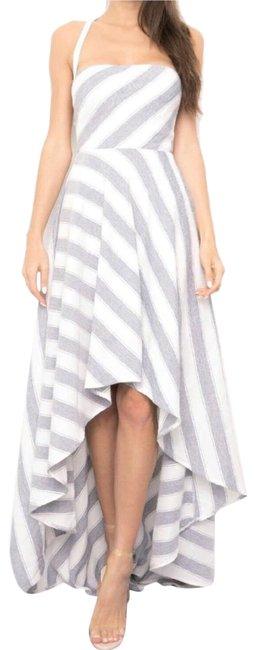 Preload https://img-static.tradesy.com/item/25897582/white-and-bluegrey-stripped-high-low-long-cocktail-dress-size-12-l-0-1-650-650.jpg