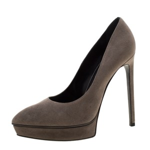 Saint Laurent Leather Platform Suede Grey Pumps