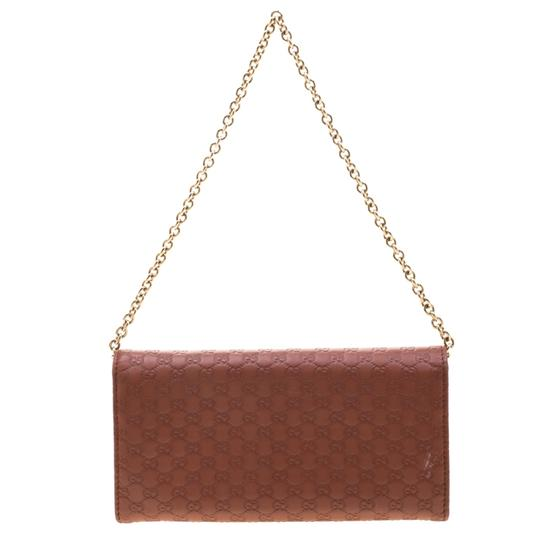 Gucci Pink Cinnamon Microguccissima Leather Wallet On Chain Image 1