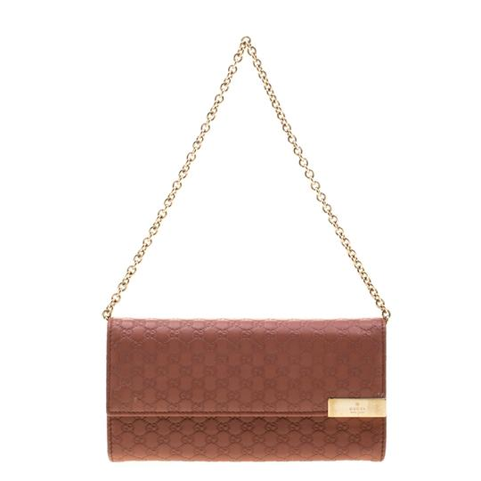 Gucci Pink Cinnamon Microguccissima Leather Wallet On Chain Image 6