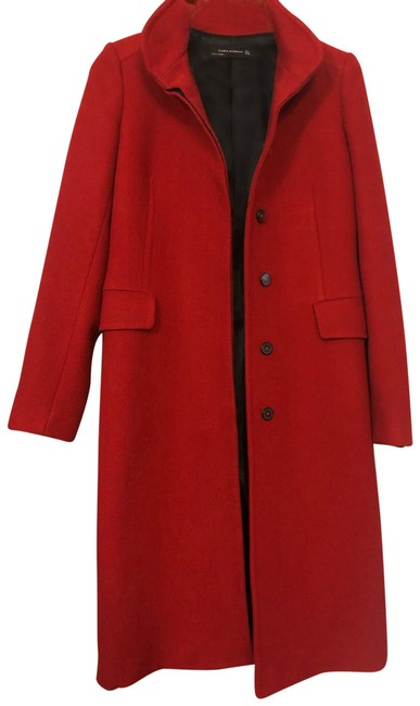 Item - Red Long Wool Coat Size 4 (S)