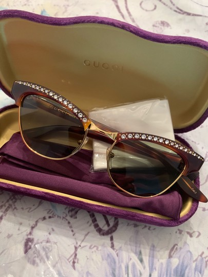 Gucci Authentic Gucci 41mm cat eyes crystals Acetate Sunglasses Image 7
