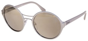 Prada MOD Round PR57TS Grey Pale Gold Mirrored Metal Sunglasses 57T