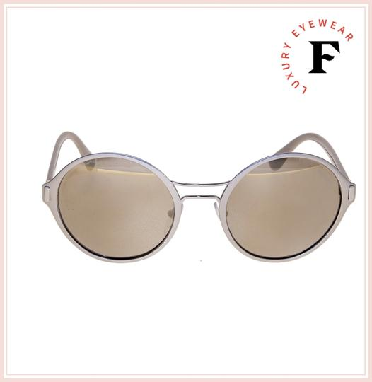 Prada MOD Round PR57TS Grey Pale Gold Mirrored Metal Sunglasses 57T Image 1