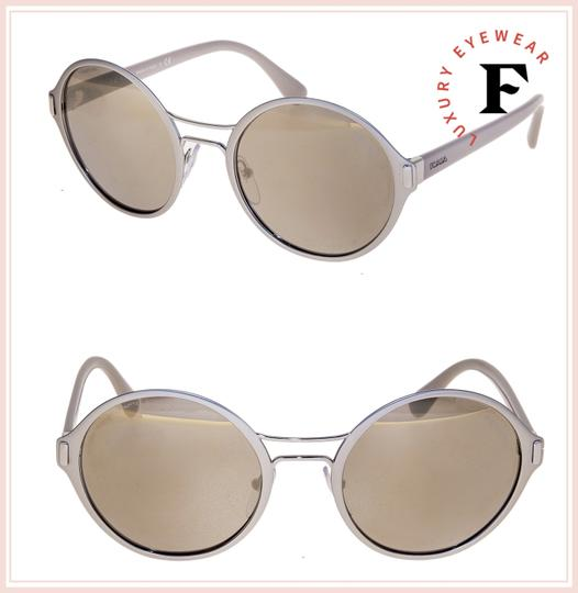 Prada MOD Round PR57TS Grey Pale Gold Mirrored Metal Sunglasses 57T Image 2