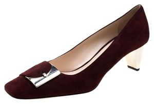 Prada Suede Buckle Detail Burgundy Pumps