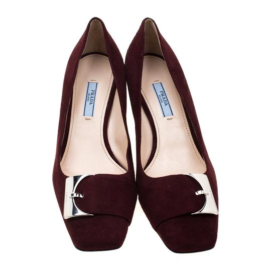 Prada Suede Buckle Detail Burgundy Pumps Image 1