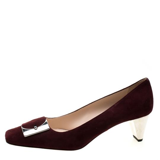 Prada Suede Buckle Detail Burgundy Pumps Image 3