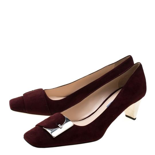 Prada Suede Buckle Detail Burgundy Pumps Image 4
