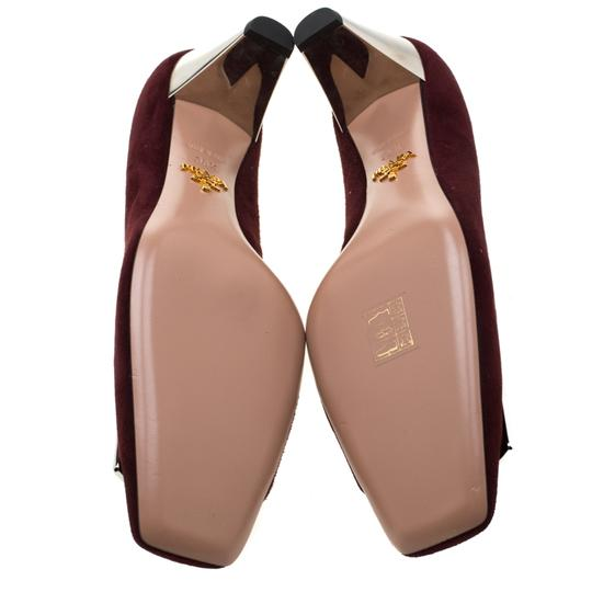 Prada Suede Buckle Detail Burgundy Pumps Image 5