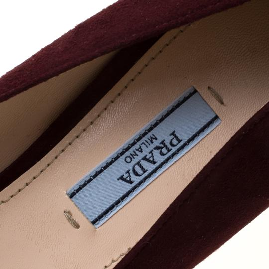 Prada Suede Buckle Detail Burgundy Pumps Image 6