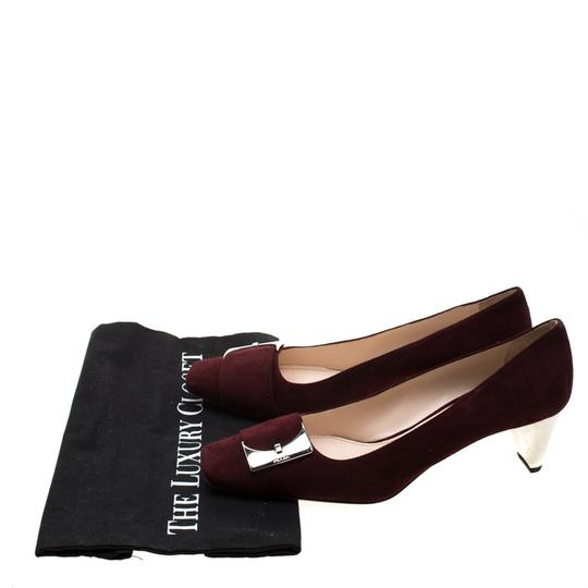 Prada Suede Buckle Detail Burgundy Pumps Image 7