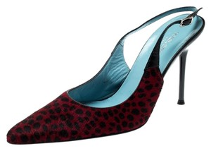 Dolce&Gabbana Pointed Toe Slingback Leopard Print Red Sandals