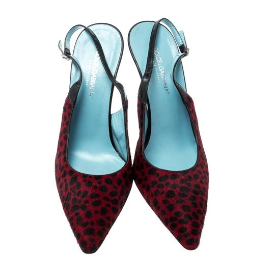 Dolce&Gabbana Pointed Toe Slingback Leopard Print Red Sandals Image 1