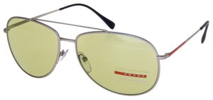 Prada LINEA ROSSA LIFESTYLE Sport Silver 55U Green Aviator Sunglasses PS55US