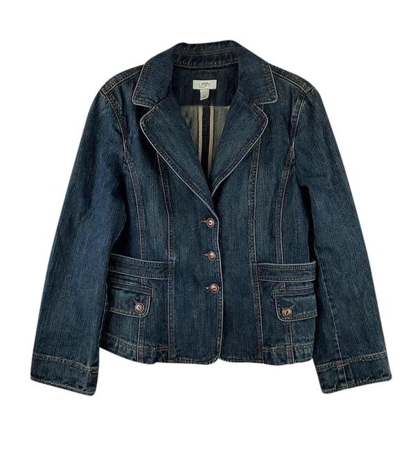 Preload https://img-static.tradesy.com/item/25897748/ann-taylor-loft-blue-faded-distressed-blazer-style-button-up-jacket-size-14-l-0-1-650-650.jpg