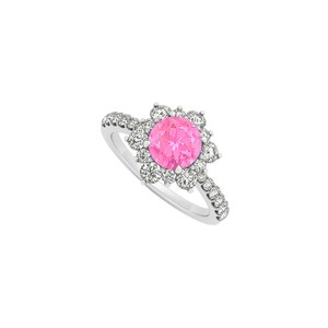 Marco B 14K White Gold September Birthstone Pink Sapphire and Cubic Zirconia