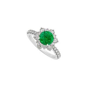 Marco B 14K White Gold May Birthstone Emerald and Cubic Zirconia Floral