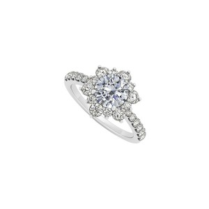 Marco B April Birthstone Cubic Zirconia Floral 14K White Gold Engagement Ring