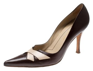 Sergio Rossi Leather Pointed Brown Pumps