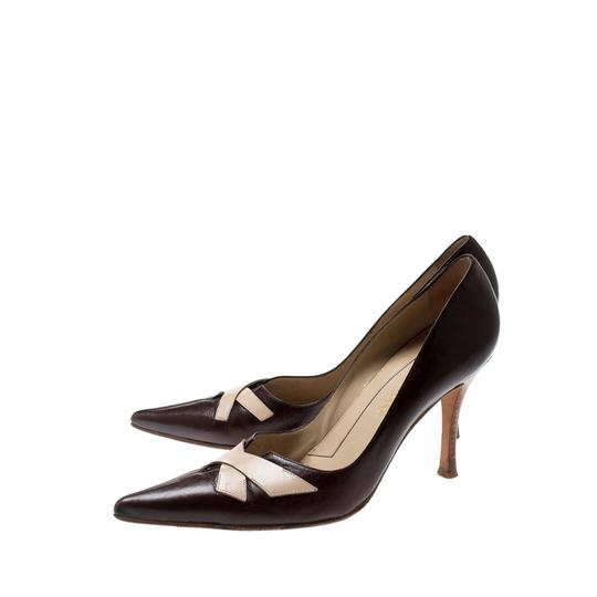 Sergio Rossi Leather Pointed Brown Pumps Image 4