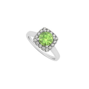 Marco B Peridot and CZ Halo Engagement Ring in 14K White Gold August Birthston