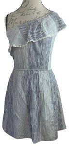 American Eagle Outfitters short dress Denim Blue, White Strapless Off-shoulder Ruffle Mini on Tradesy