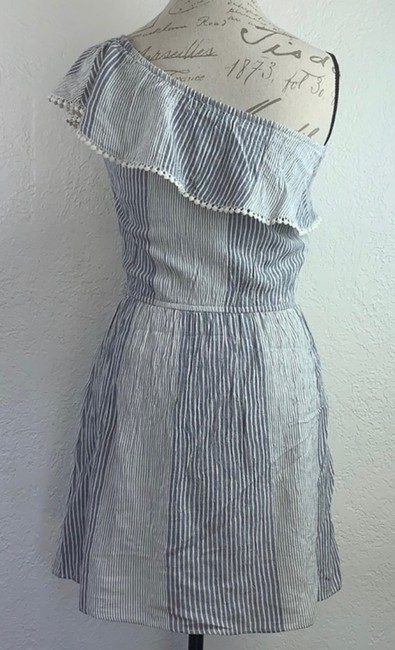 American Eagle Outfitters short dress Denim Blue, White Strapless Off-shoulder Ruffle Mini on Tradesy Image 2