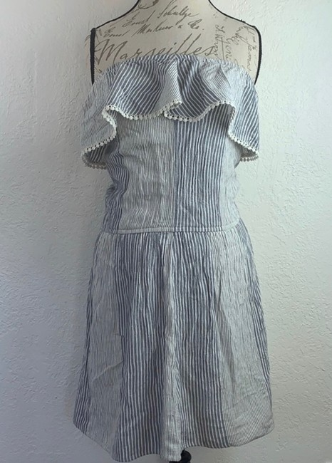 American Eagle Outfitters short dress Denim Blue, White Strapless Off-shoulder Ruffle Mini on Tradesy Image 3