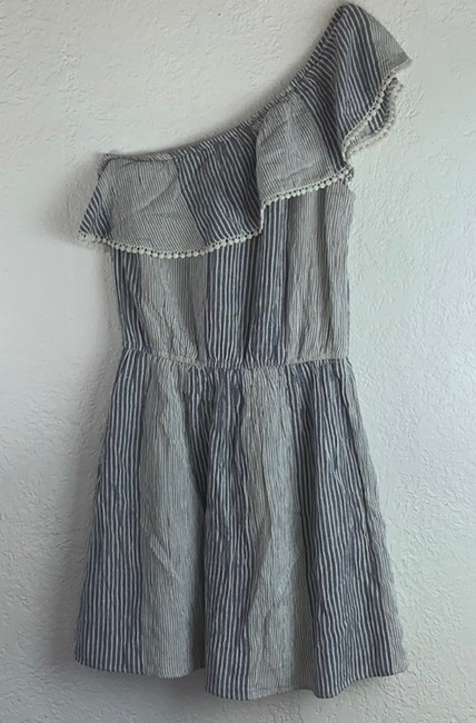 American Eagle Outfitters short dress Denim Blue, White Strapless Off-shoulder Ruffle Mini on Tradesy Image 4