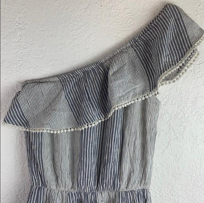 American Eagle Outfitters short dress Denim Blue, White Strapless Off-shoulder Ruffle Mini on Tradesy Image 5