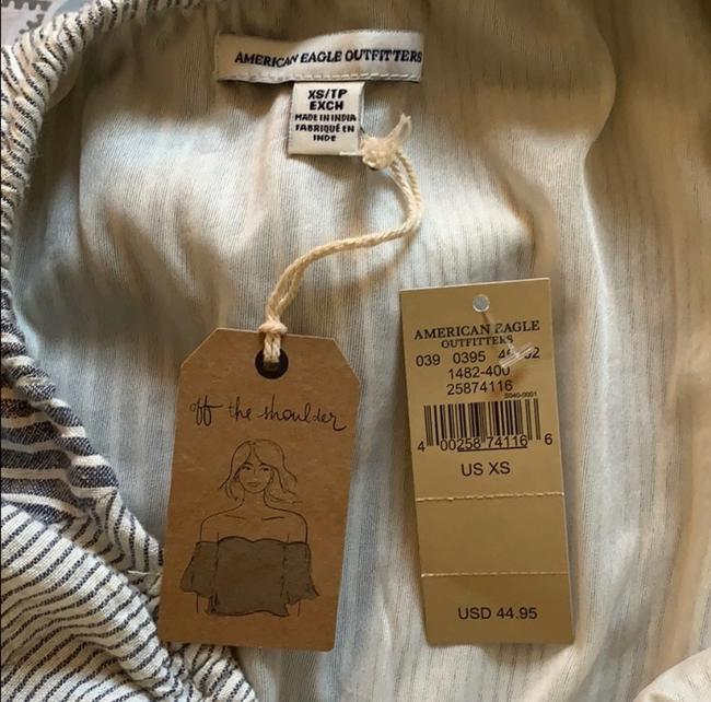 American Eagle Outfitters short dress Denim Blue, White Strapless Off-shoulder Ruffle Mini on Tradesy Image 7