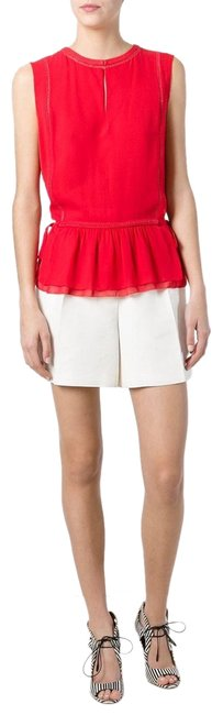 Tory Burch Silk Sleeveless Ruffle Date Night Hollywood Top Spark Red Image 0