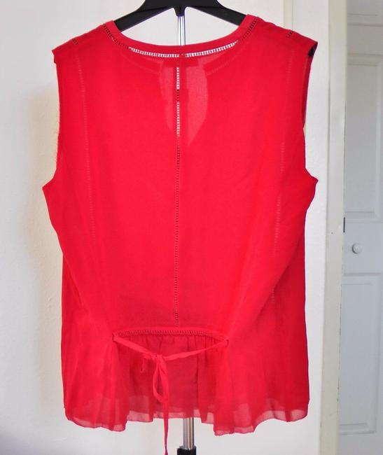 Tory Burch Silk Sleeveless Ruffle Date Night Hollywood Top Spark Red Image 2