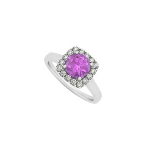 Marco B Amethyst and CZ Halo Engagement Ring in 14K White Gold February