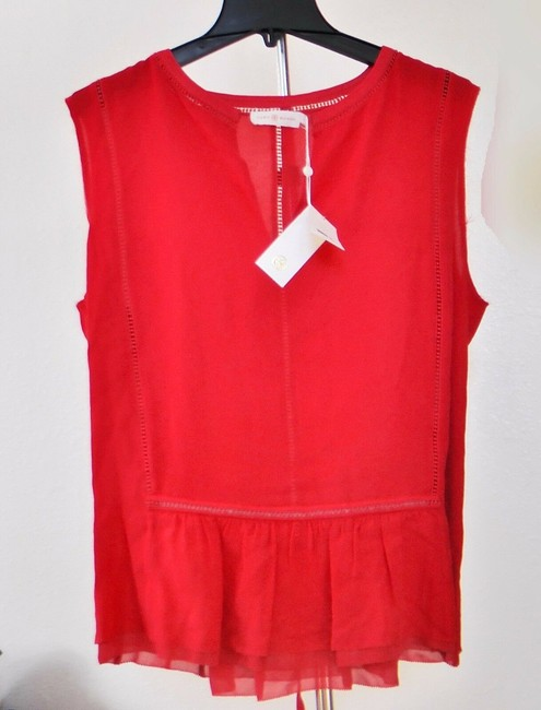 Tory Burch Silk Sleeveless Ruffle Date Night Hollywood Top Spark Red Image 1