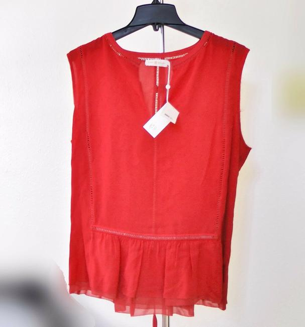 Tory Burch Silk Sleeveless Ruffle Date Night Hollywood Top Spark Red Image 3