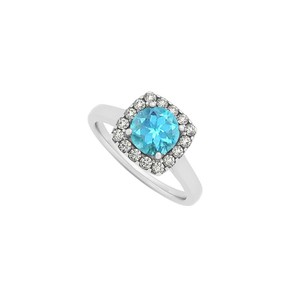 Marco B Blue Topaz and CZ Halo Engagement Ring in 14K White Gold December
