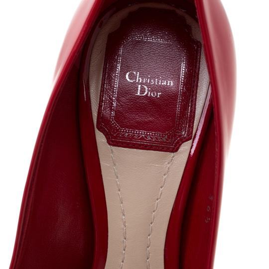 Dior Patent Leather Peep Toe Leather Red Pumps Image 5