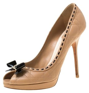 Dior Leather Patent Peep Toe Beige Pumps