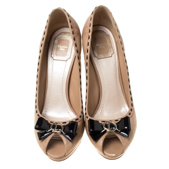 Dior Leather Patent Peep Toe Beige Pumps Image 1